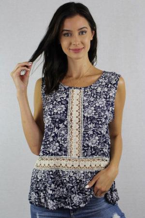 Sleeveless Boho Crochet Detail Top