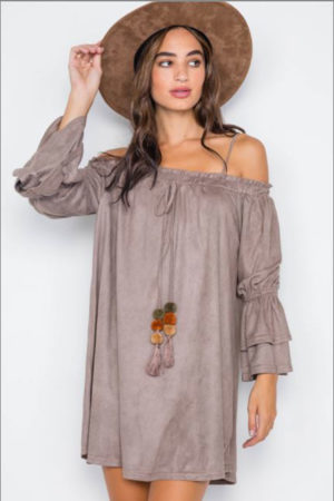 Love Riche Boho Faux Suede Off Shoulder Mini Dress