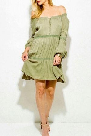 Off the Shoulder Boho Multi Tier Peasant Dress