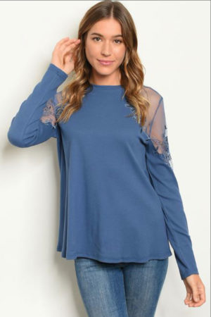 Sweet Claire's Boho Indica Lace Shoulders Long Sleeve Top