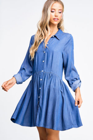 Color Threads Boho Chambray Pinstripe Denim Dress