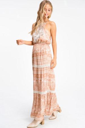 Boho Print Lace Trim Tiered Maxi Dress