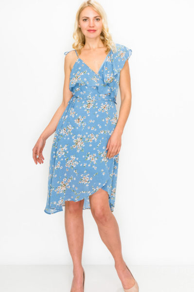 Dusty blue floral print wrap dress