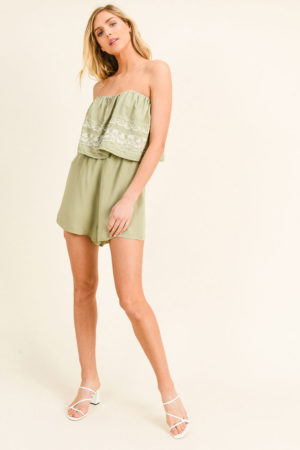 Sage Green Embroidered Tiered Playsuit Romper