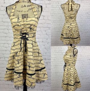 Halter Style Lace Up Musical Print Dress
