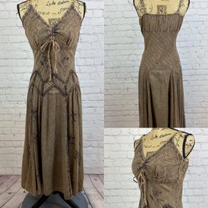 Embroidered Ruched Bodice Peasant Dress